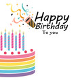 happy birthday to you cake horn background vector image vector image
