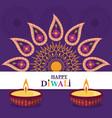 happy diwali festival diya lamps candles floral vector image vector image