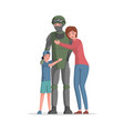 happy smiling boy and woman hugging man vector image vector image