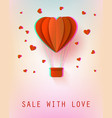 hot air balloon papercut heart shape vector image vector image