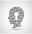 human head with a maze and a keyhole inside vector image vector image