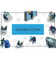 isometric hacker activity concept vector image vector image