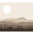 Landscape with grass and mountains over sunset vector image vector image