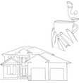 linear architectural sketch detached house vector image