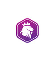 lion head and crown in top logo design animal vector image vector image