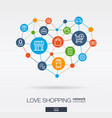 love shopping integrated thin line icons in heart vector image vector image