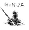 ninja with sword preparing to attack vector image vector image