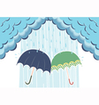 of raining clouds and two umbrellas vector image vector image