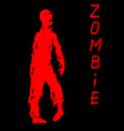one-armed zombies silhouette in black and red vector image