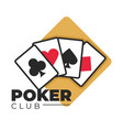 poker club gambling and casino games play cards vector image vector image