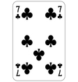 Poker playing card 7 club vector image vector image
