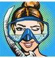 pop art woman in scuba vector image vector image