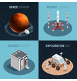 Rocket Space Isometric Icon Set vector image vector image