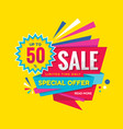 sale concept banner design discount 50 percent of vector image vector image