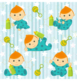 seamless pattern with baby boy vector image vector image