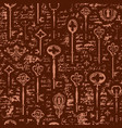 seamless pattern with vintage keys and keyholes vector image vector image
