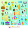 set summer vacation and travel items vector image vector image