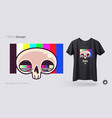skull with tv grid t-shirt design print vector image vector image