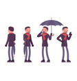 stylish middle aged man with umbrella standing vector image