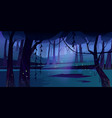 summer forest glade with flying fireflies at night vector image