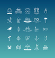 Summer Holidays Icon Set Line Art vector image