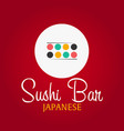 sushi bar logo template design with chopstick bar vector image