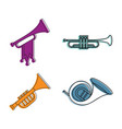 trumpet icon set color outline style vector image vector image