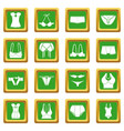 underwear icons set green square vector image vector image
