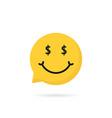 wealthy emoji speech bubble logo vector image vector image