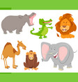 wild animals cartoon characters collection vector image