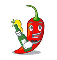 with beer red chili pepper isolated on mascot vector image vector image