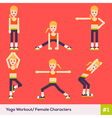 Yoga Caracters Women 1 vector image