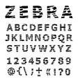 ZEBRA alphabet vector image