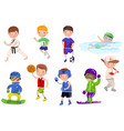 boys exercising and playing different sports kids vector image