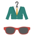 Suit on hanger and sunglasses vector image