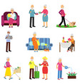 senior man and woman activities set elderly vector image