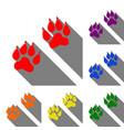 animal tracks sign set of red orange yellow vector image vector image
