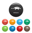 ankilosaurus icons set color vector image vector image