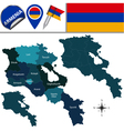 Armenia map with named divisions vector image vector image