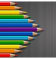 Arrow shape of rainbow colored pencils with vector image vector image