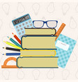 back to school background with supplies set vector image vector image