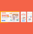 bakery landing page homepage internet website vector image