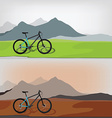 Bicycle in mountain landcape vector image