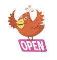 bird holding a sign with word open vector image vector image