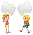 boy and girl with speech bubbles vector image vector image