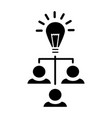 brainstorm generation - lamp with users icon vector image vector image