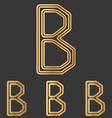 Bronze line b logo design set vector image vector image