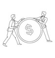 businessmen with coin profit and money finance vector image