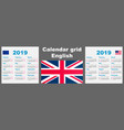 calendar english 2019 set grid wall iso 8601 vector image vector image