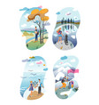 cartoon people and natural landscapes scenes set vector image vector image
